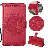 Sycode Galaxy S6 Wallet Hülle,Galaxy S6 Ledertasche,Totem Blumen Rot PU Leder Brieftasche für Samsung Galaxy S6-Rot