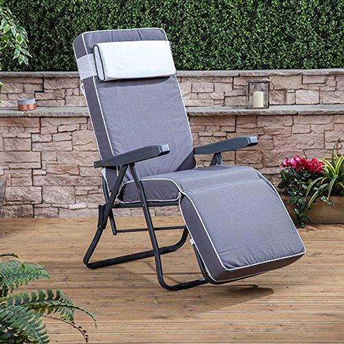 Alfresia Grau im Freien Garten Entspannungsstuhl mit luxuriös Grau Kissen