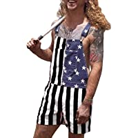 Mens Rompers Jumpsuits 4th of July American Flag Casual Overalls Bib Denim Shorts Couple's Onesie Romper Jeans