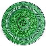 Marokkanischer Teller Grün 22cm | bunte marokkanische Keramik Teller bunt aus Marokko | Große Keramikschalen flach Geschirr aus dem Orient handbemalt