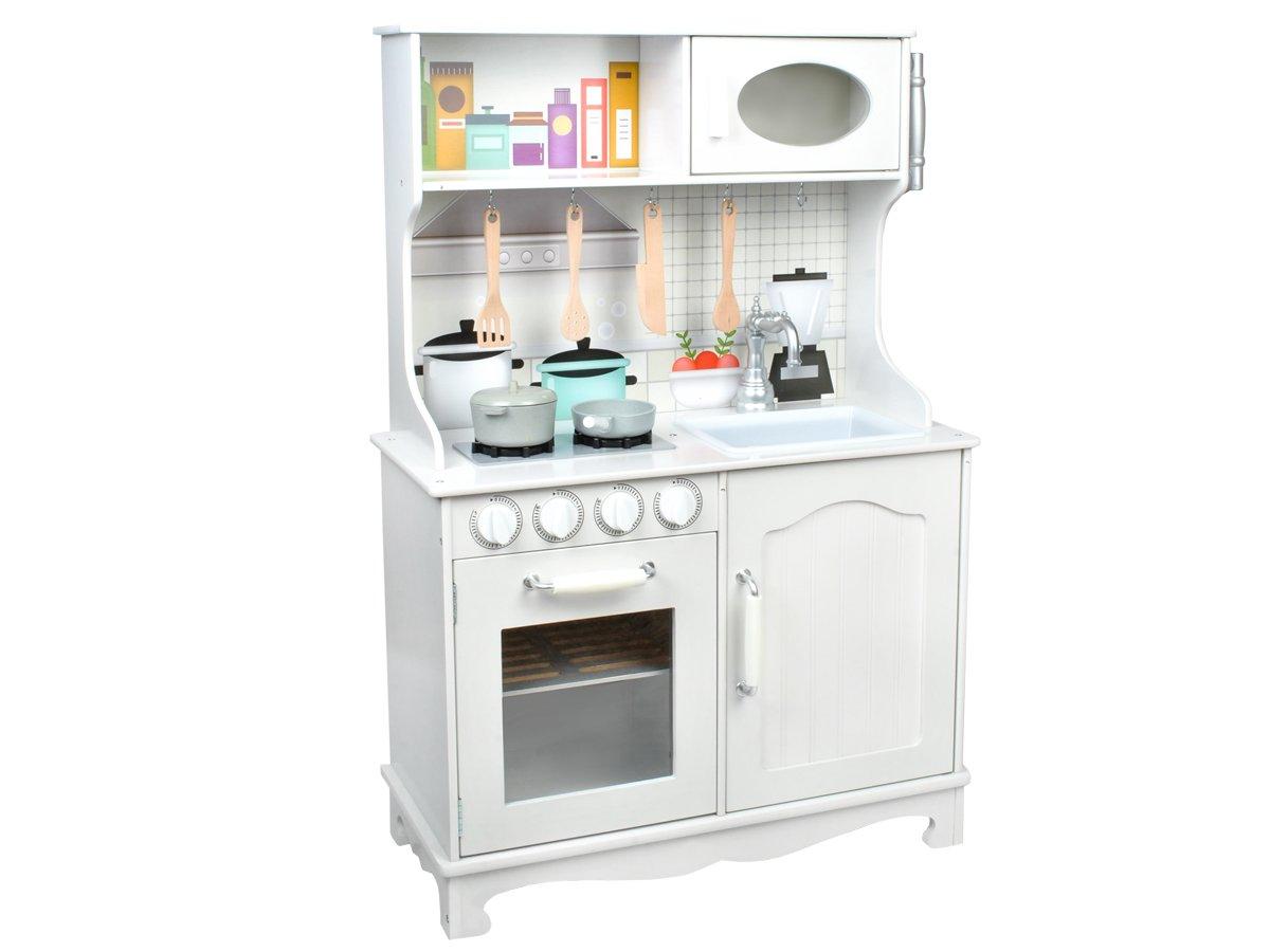 MALATEC Cucina in Legno • ha Tanti Elementi mobili, ad es.manopole • Ottimo  Come Il Regalo• Accessori di Legno e 2 pentole nel Set • Perfetta per Il ...