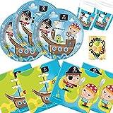Pirat Treasure Hunt Partyset 36 Teile für 8 Kinder Teller Becher Servietten