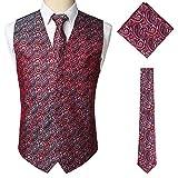 STTLZMC Paisley Gilet Uomo Scollo a V Doppiopetto Slim Fit Elegante Matrimonio Panciotto & Cravate & Set Tascabile,Rosso,L