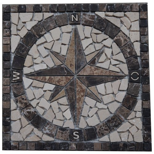 Marble mosaic square medallion tile 30x30 cm Compass Handmade in Europe Emperador Dark Brown