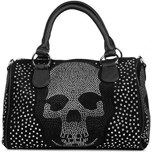 styleBREAKER Bowling Bag Handtasche mit Strass Totenkopf und Strass Nieten Applikation, Henkeltasche, Damen 02012023, Farbe:Schwarz (Strass-totenkopf Handtasche)