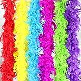 Coceca 6pcs Boa de plumas manualidades largas coloridas de 2m para fiestas