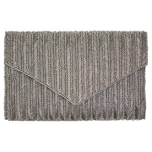GreenGate Gate Noir - Clutch Handtasche Tasche Partytasche - Art Deco, 20er Jahre Tasche - mit edler Perlenstickerei - Silver Lines (Art-deco-handtasche)