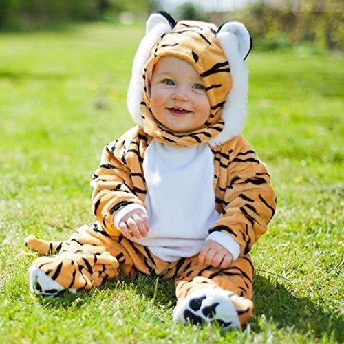 Travis Baby/Kleinkinder Kostüm, Qualität: sehr weicher Plüschstoff, Tiger-Kostüm Strampler, 3-6 Monate