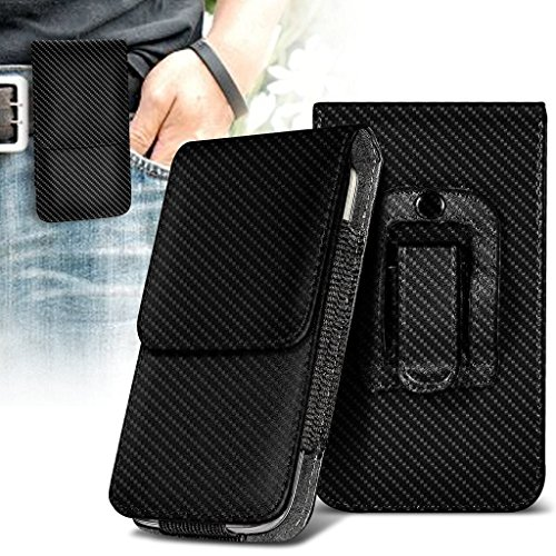 Price comparison product image I-Sonite (Carbon Black) Premium Vertical Faux Leather Belt Holster Pouch Cover Case With Magnetic Closure For Huawei P20 Pro [ XXL]