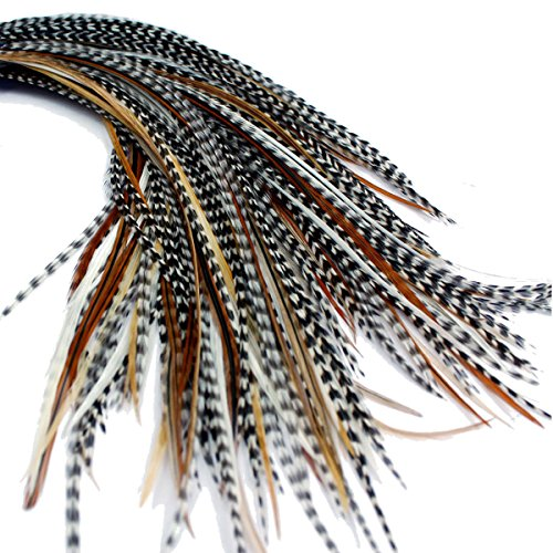 25 Extensions de cheveux en plumes véritables : court Skinny 17,8–22,9 cm (18–23 cm) + Anneaux/Boucle
