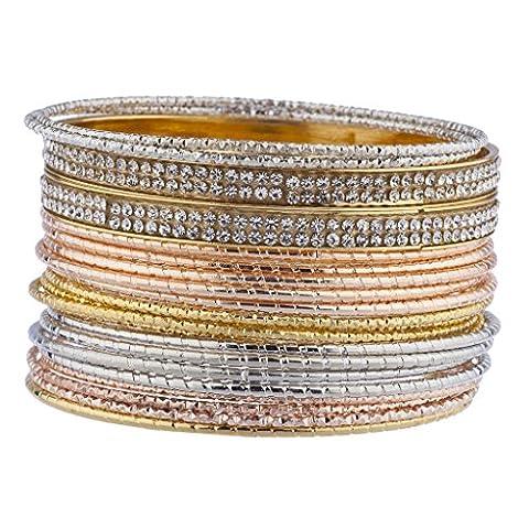 Lux Accessoires Tri Tone Crystal Autocollant Pierre de bracelet en métal?? pcs
