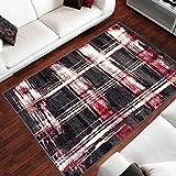 Tapiso Designer Teppich Wohnzimmer Meliert Gestreift Karo Muster in Schwarz Grau Rot 80 x 150 cm
