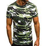Hombres Muscle T-Shirt Slim Casual Fit Manga Corta Camouflage Blusa Tops por Internet.
