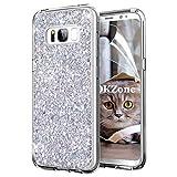 OKZone Galaxy S8 Plus Hülle, Luxus Glitzer Bling Designer Weich TPU Bumper Case Silikon Schutzhülle Handy Tasche Rückseite Hülle Etui Cover TPU Bumper Schale für Samsung Galaxy S8 Plus (Silber)