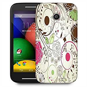 Snoogg Retro Floral Background Designer Protective Phone Back Case Cover For Motorola E / Moto E