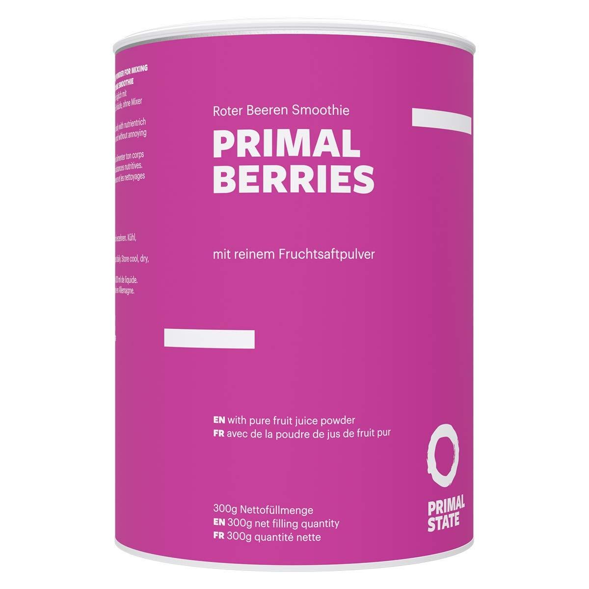 Beeren Smoothie Pulver | Primal Berries | Aktivierend – Antioxidantien und Energie aus Beeren & tonischen Wurzeln | Vegan mit Heidelbeere, Himbeeren, Ginseng, Grüner Tee Extrakt | 300g – 30 Portionen