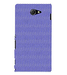 Small Lines Chevron Blue Pattern 3D Hard Polycarbonate Designer Back Case Cover for Sony Xperia M2 Dual D2302 :: Sony Xperia M2