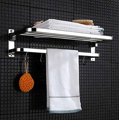 BBSLT-Livello singolo in acciaio inox porta asciugamani, bagno alla moda bagno mensola pieghevole portabicchiere