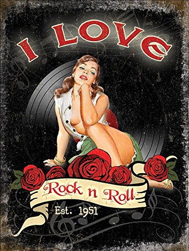I love rock n rotolo. Est 1951. Anni 50 sexy Pin-up. Rose e vinile. house,home,musica room,barrette,pub,cafe/negozio. Joan Jett & il Blackhearts 1981 lirica da hit canzone. Metal/ - Acciaio, 20 x 30 cm