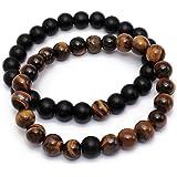 2 Pcs Set Lava Rock Bracelet Stone Tiger Eye Bracelet Stress Relief Yoga Beads Adjustable Bracelet Anxiety Aromatherapy Essen