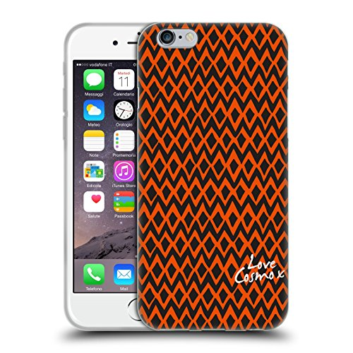 Official Cosmopolitan Blue Triangles Totally 80S Soft Gel Case for Apple iPhone X Orange Ikat