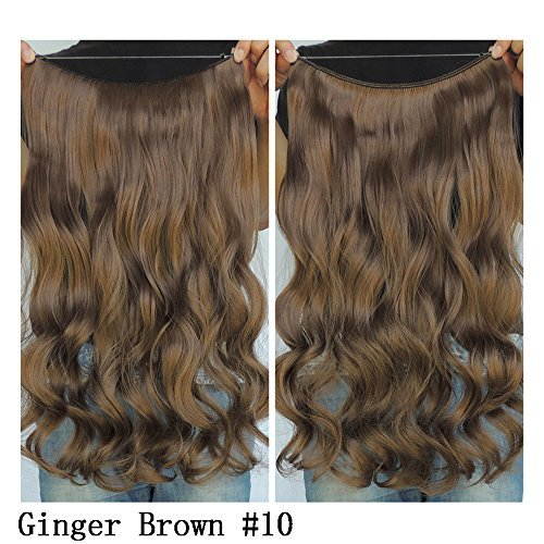 Secret Halo Hair Extensions Flip in Curly Wavy Hair Extension Synthetic Women Hairpieces 20 (Ginger Brown #10) by SY (Halo Hair Extensions Brown)