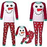 Surfiiy Pigiama Famiglia Natale Set, Mamma Adult Due Pezzi Pupazzo di Neve Cartoni Animati Xmas Genitore-Figlio Costume Elega