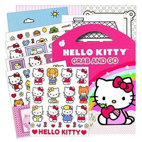 Hello Kitty Stickers Grab Go Travel Activity Pack Stickers Play Scenes Coloring Sheets plus Bonus Reward Sticker