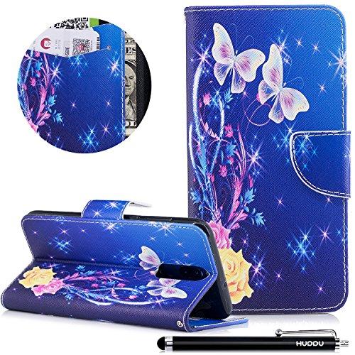 HUDDU Bunt Schutzhülle Hülle Blumen und Schmetterling Muster Slim Handyhülle Leder Tasche Wallet Case Cover Flip Kartenfach Magnetic Stand für Huawei Mate 10 Lite Klapphülle Blau