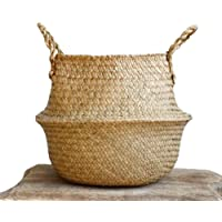REFURBISHHOUSE Woven Seagrass Basket, Woven Seagrass Tote Belly Basket for Storage, Laundry, Picnic, Plant Pot Cover & Beach Bag Size: 27 * 24cm
