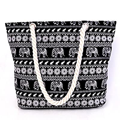 Millya Canvas Travel Tote Bag Oversized Shoulder Bag 13.5 Inch Holiday Beach Bag Shopping Bag - inexpensive UK light shop.