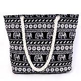 Millya Canvas Travel Tote Bag Oversized Shoulder Bag 13.5 Inch Holiday Beach Bag Shopping Bag