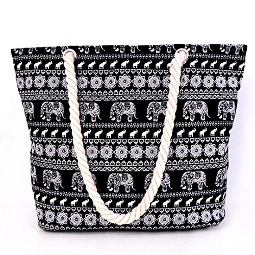 Millya Canvas Travel Tote Bag Oversized Shoulder Bag 13.5 Inch Holiday Beach Bag Shopping Bag