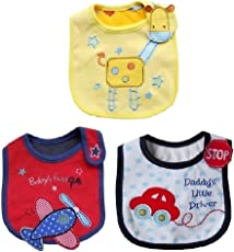 iDream Soft Cotton Cartoon Printed Baby's Bibs for Aeroplane, Car and Giraffe (Multicolour) - Pack of 3