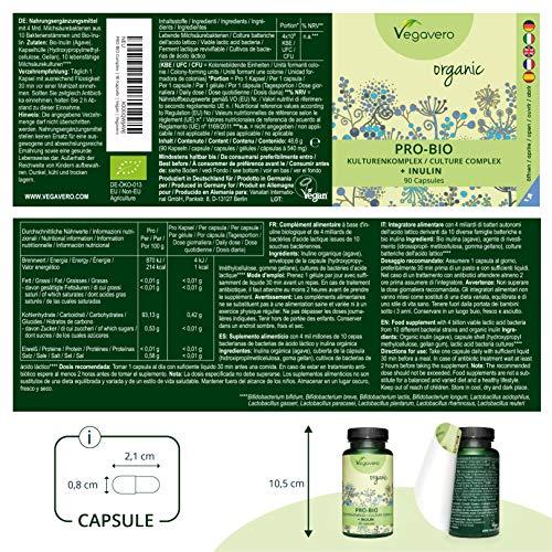 VEGAVERO® ProBio Kulturen Komplex + Bio-Inulin | 100% BIO | Lactobacillus + Bifidobacterium aus Deutschland | Laborgeprüft | Milchsäurebakterien | 90 magensaftresistente Kapseln
