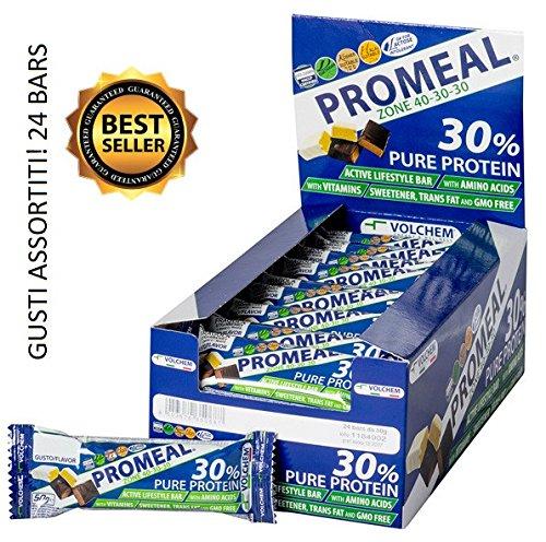24x volchem promeal zone bar 50g 40-30-30 (gusti assortiti) - ideali per la dieta a zona e come spuntino - nt integratori