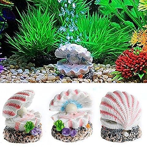 Dairyshop Shell Pearl & Air Stone Aquarium Fish Tank Shell Bubbler Bubbling Ornament Decor