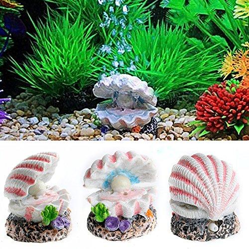 ECMQS Schale Perle& Air Stein Aquarium Shell Bubbler Sprudelnde Ornament Dekor (Fisch Aquarium Schalen)