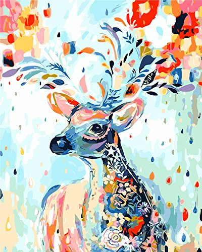(NHSUNRAY DIY ölgemälde Kreative Digitale Abstrakte Malerei Leinwand Kunst Home Dekoration (Regenbogen Hirsch))