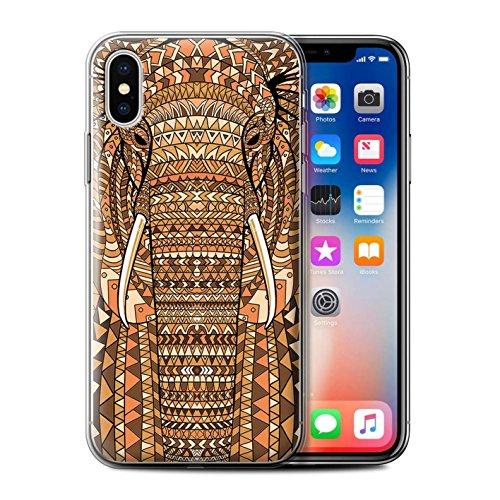 Coque Gel TPU de STUFF4 / Coque pour Apple iPhone 7 Plus / Loup-Bleu Design / Motif Animaux Aztec Collection éléphant-Orange