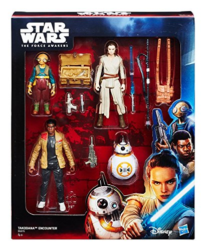 Hasbro B6815 Star Wars Jedi – Takodana Encounter 4 Action Figure Playset – Rey Finn MAZ Kanata BB-8
