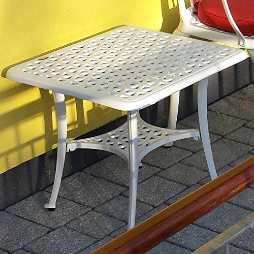 Lazy Susan – SANDRA Quadratischer Kaffeetisch mit 1 APRIL Gartenbank – Gartenmöbel Set aus Metall, Weiß - 2