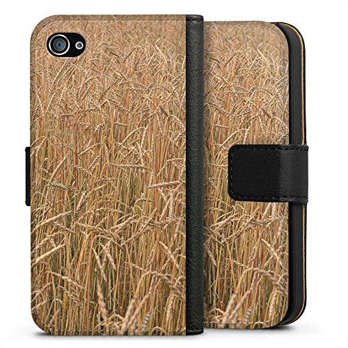 Apple iPhone X Silikon Hülle Case Schutzhülle Kornfeld Landschaft Feld Sideflip Tasche schwarz