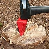 coin fendeur eclateur pour buche bois en métal couleur rouge 17 cm