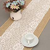 Camino de mesa Rústico arpillera de encaje arpillera tabla corredor de yute natural para el Festival de la boda Evento decoración de la mesa encaje blanco (30 x 180 cm) Decoración hogareña