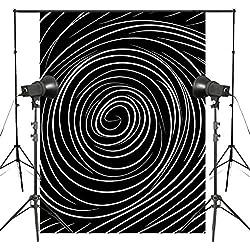 DLQX 3D Abstrait Spirale Stéréoscopique Photographie Fond Noir Blanc Toile De Fond Photo Studio Toile De Fond Accessoires 5X7Ft
