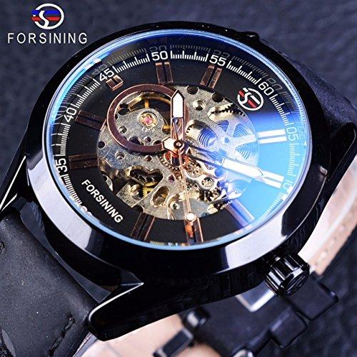 Forsining Blue Hardlex Glass Black Leather Transparent Openwork Men Mechanical Automatic Watches Top Brand Luxury Clock