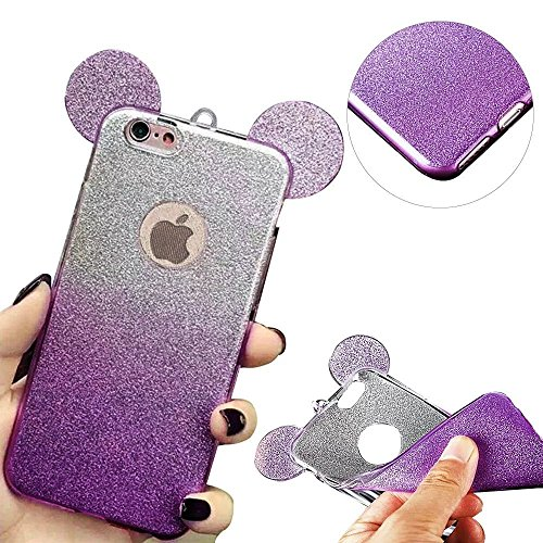 iPhone 6S Plus Hülle, MOMDAD Glitzer Cartoon TPU Handyhülle für iPhone 6S Plus / 6 Plus Schutzhülle Dünnen Glänzend Crystal Kristall Silikon Bling Shining Maus Mouse Ohr Ear Zurück Case Cover Schutz K Glitter Lila
