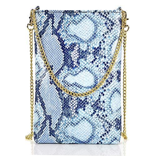 ZVE Damen Umhängetasche mit Kette und Handtasche, (Blue Snake Pattern), Small