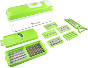 Floraware Plastic Rust-Resistant Unbreakable Vegetable Cutter with Chopper - Fruit Cutter, Cheese Shredder, Grater and Slicer(Green)